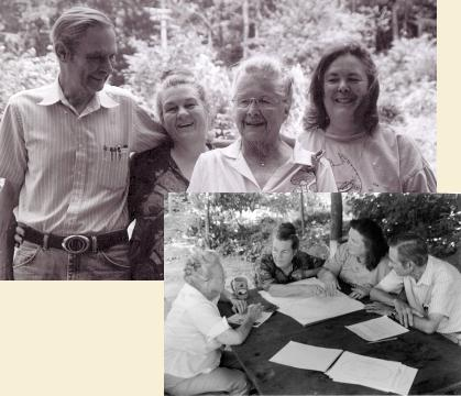 The Armstrong-Allison family in portrait and in a candid planning view.