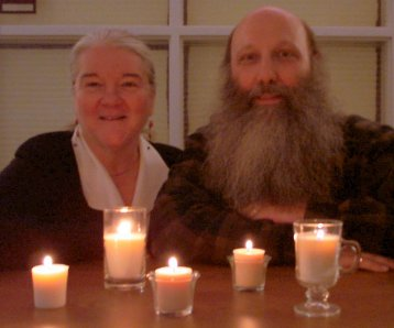Sohodojo/NARFI Jim and Timlynn beam in the light of soy wax candles