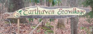 Entrace sign to the Earthaven Ecovillage near Black Mountain, NC USA.