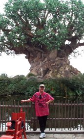 Sohodojo Timlynn vogues at the foot of the Tree of Life at Disney's Animal Kingdom